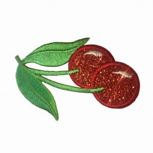 Fruit - Cherries - Iridescent Pair of Cherries Iron On Fruit App