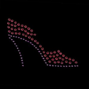 Red Hat Rhinestud High Heel Shoe Applique - Rt Facing