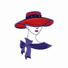 Red Hat Lady- Med. Satin Red hat lady applique