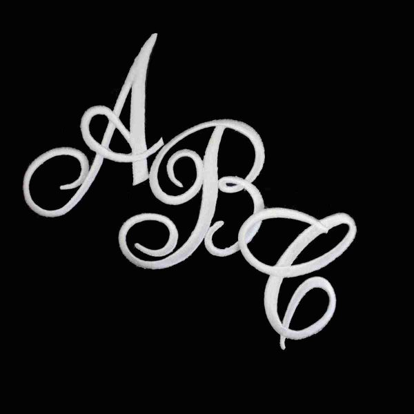 Embroidered Script WHITE Iron On Letters - Sold Separately