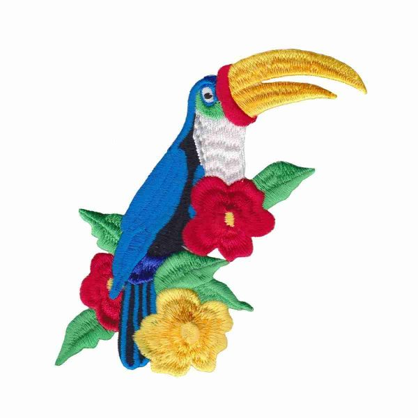 Birds - Toucans - Toucan in Flowers Iron On Patch