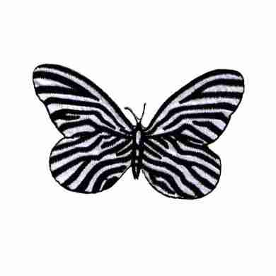 Butterflies - Zebra Butterfly -LARGE- Iron On Insect Patch Applique