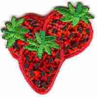 Fruit - Strawberries - Sparkling Strawberry iron on patch applique