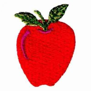 Fruit - Apples - Small Red Apple w/Stem Iron On Fruit Patch Appl