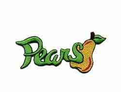 Fruit - Pears Script Iron On Fruit Patch Applique