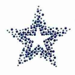 "Stars - Small BLUE 3"" Rhinestone Star Iron on Applique"