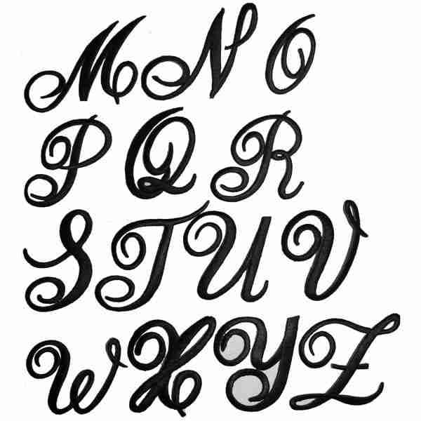Examples of letters designs M-Z