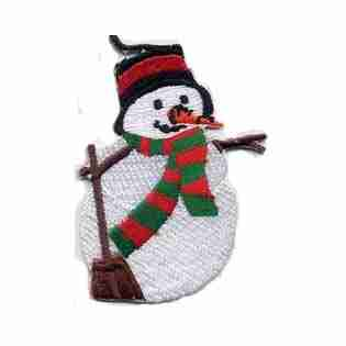 Christmas Snowman with Broom Iron On Holiday Patch Applique