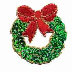 Christmas Sequined Wreath Iron On Holiday Applique