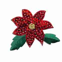 Christmas Sequined Poinsettia Iron On Patch