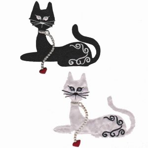 Satin Cat Appliques in Black or White - Sold Separately