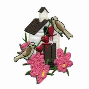 Birds - Birdhouse with Birds and Pink Flowers Iron on Applique