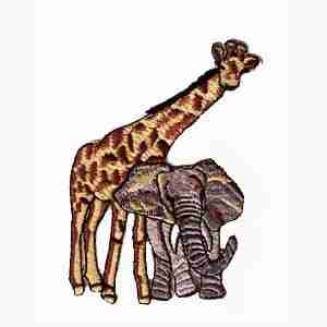 Giraffe - Baby Giraffe & Elephant -SMALL- Iron On Jungle Animal