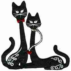 Cats - Satin Black Pair of Long-Necked Cats Iron-on Applique
