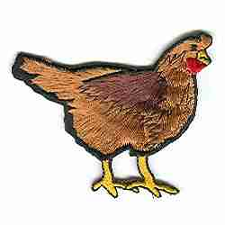 "Chickens - Large Brown (2.5""H) Chicken Iron On Farm Animal Patch"