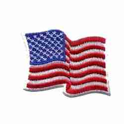 Waving American Flag Iron On Patch Applique