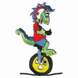 "Cycling - Large Unicyclist Laughing Lizard Iron On Sports 6""H Pa"