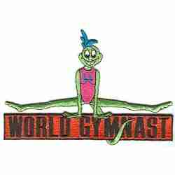 "Gymnastics - Large World Gymnast Lizard 4.25"" H Iron on Patch Ap"