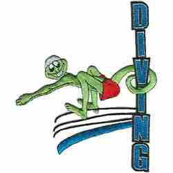 "Diving - Large 7"" H High Diving Lizard Iron On Patch Applique"