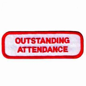 Outstanding Attendance Iron On Childrens Patch Applique