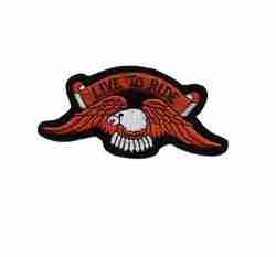 Live to Ride Eagle Iron On Biker Patch