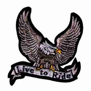 Silver Live to Ride Eagle Iron On Biker Patch