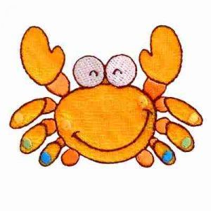 Happy Crab Iron On Children's Sealife Applique