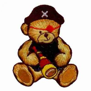 Teddy Bear Pirate Iron On Childrens Patch Applique