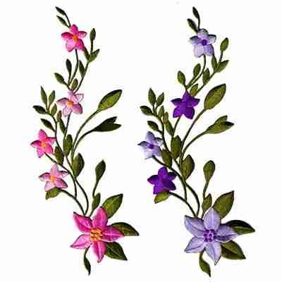Large pink flowers on vine iron on applique laughing lizards sample 27 flowers on vine mightylinksfo