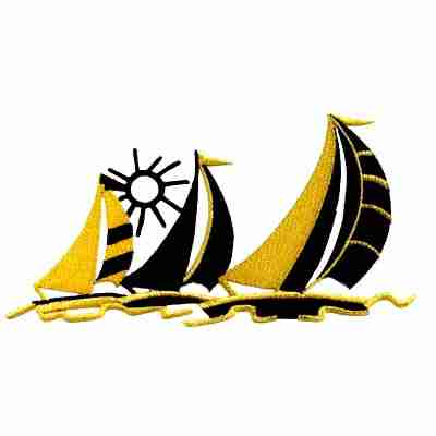 Lg. Trio of Sailboats in the Sun Iron On Marine Applique