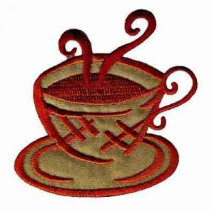 Coffee - Steaming Brown Coffee Cup & Saucer Iron On Applique