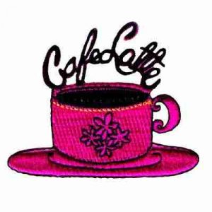 Coffee - Cafe Latte Cup & Saucer Iron On Applique