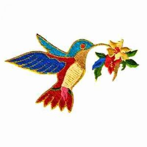 Birds - Hummingbird with Flower Iron On Avian Applique