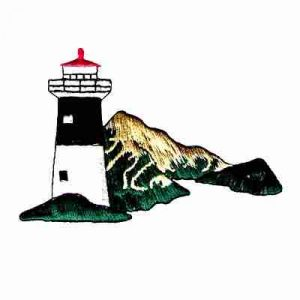 Lighthouse with Mountains Iron On Patch Applique