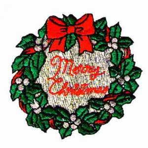 Christmas Wreath Iron On Holiday Applique