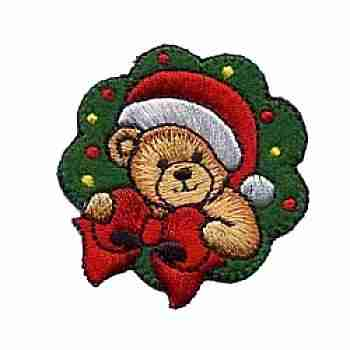 Christmas Bear in Wreath Iron on Patch Applique