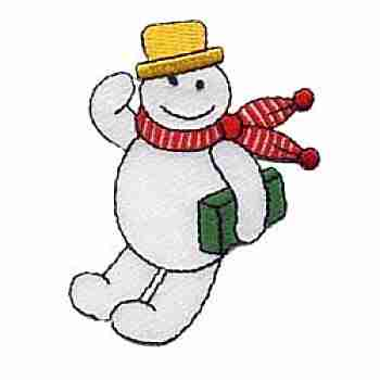 Christmas Holiday Happy Snowman Patch Applique