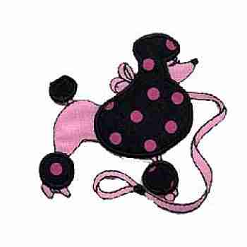 Dogs - Pink Polka Dot Poodle Iron on Patch Applique
