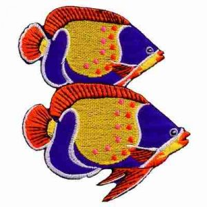 Two Tropical Angel Fish Iron-On Sealife Patch Applique