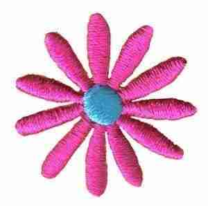 Small Pink Flower Iron on Patch Floral Applique
