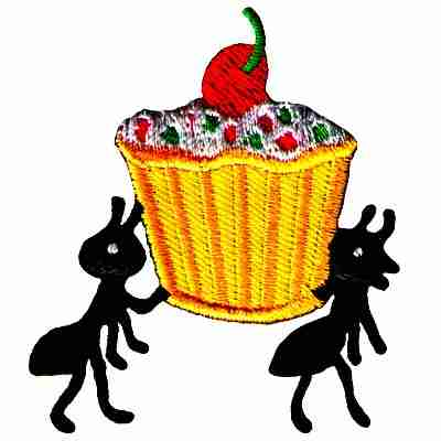Ants thieving a Cupcake Iron On Patch Applique