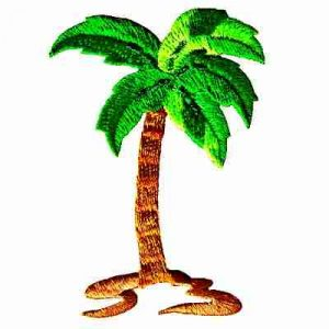 Med. Single Glitter Palm Tree Iron On Tropical Applique