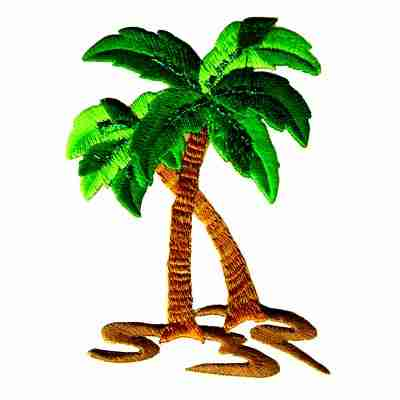 Med. Double Glitter Palm Tree iron on Patch Applique