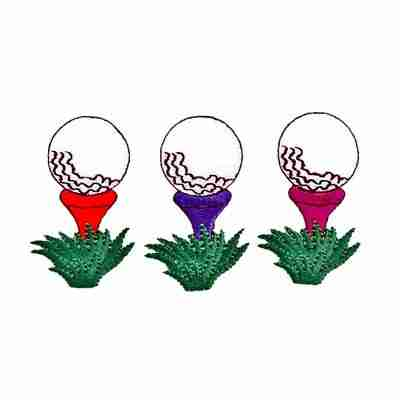 Golf - Ball on Tee Iron On Patch Applique in Red OR Purple OR Fu