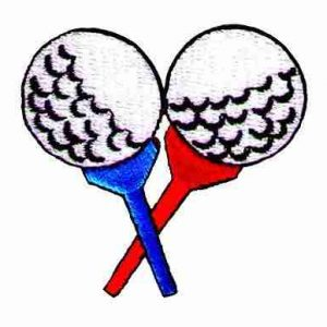 Golf - Golf Balls on Red & Blue Tees Iron On Patch