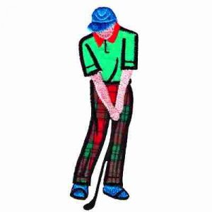 Golf - Male Golfer Putting Iron On Golf Patch Applique