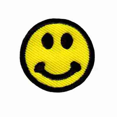 """Smiley Face 1-1/4"""" round Iron On Patch Applique"""