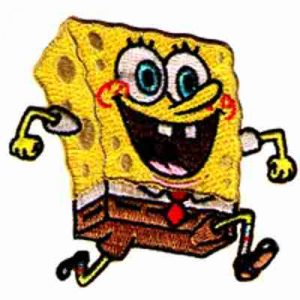 SpongeBob Running Iron On Patch Applique