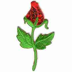 Sparkling Rosebud Iron on Patch