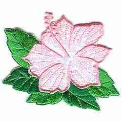 Pink Iridescent Hibiscus Floral Appliques
